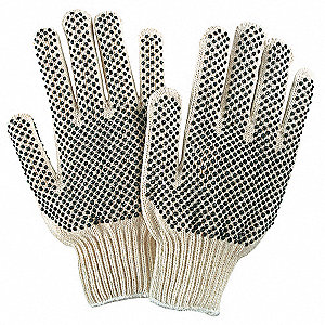 Knit Gloves, Cotton Polyester Blend Material, Knit Wrist Cuff, Natural/Black, Glove Size: S