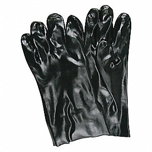 PVC Chemical Resistant Gloves, Standard Weight Thickness, Interlock Lining, Size L, Black, PR 1
