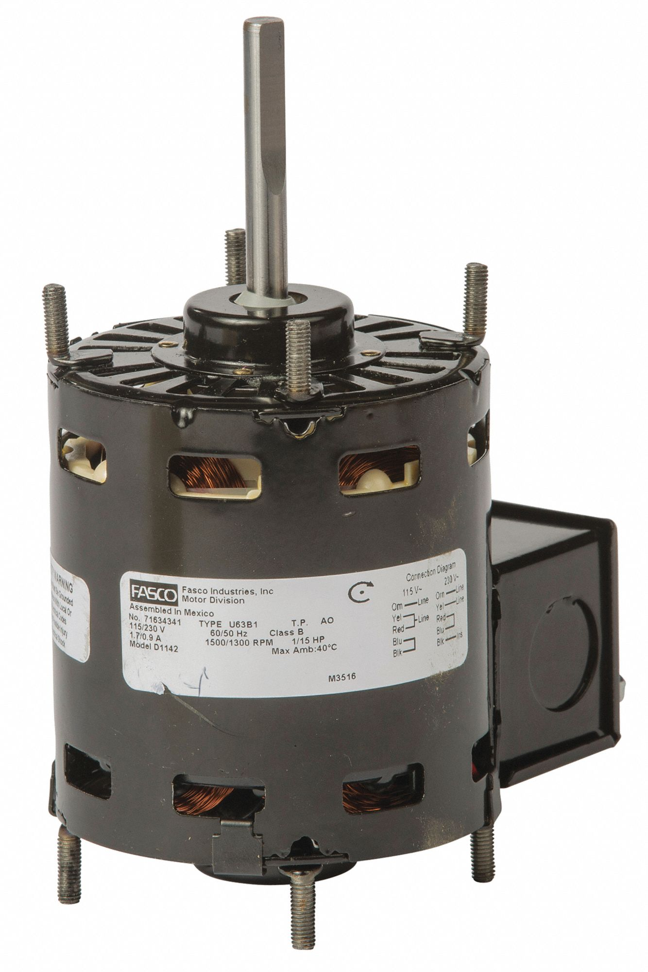 FASCO Shaded Pole Condenser Fan Motor, 1/15 HP, 1401-1500 RPM Range on house thermostat wiring diagrams, 3 phase motor winding diagrams, single phase 115v motor diagrams, electric trailer brake wiring diagrams, 2 hp marathon electric motors wiring diagrams, capacitor start motor diagrams, single phase capacitor motor diagrams, 115 230 motor voltage change, general motors parts diagrams, scosche wiring harness diagrams,