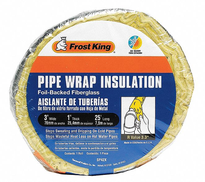 1 in x 3 in x 25 ft Fiberglass and Foil Pipe Insulation Wrap