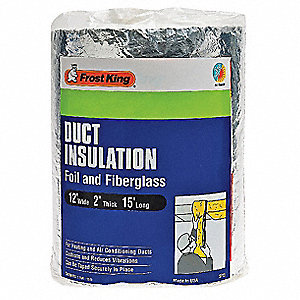 Duct Insulation, Fiberglass, 15 ft. L