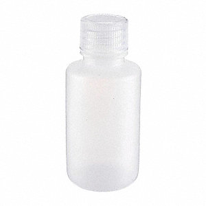 Narrow Mouth Round Bottle, Plastic, 60mL, White, 72 PK
