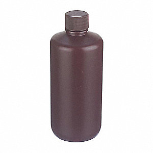 Narrow Mouth Round Bottle, Plastic, 250mL, Amber, 72 PK