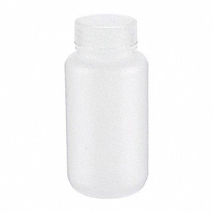 Wide Mouth Round Bottle, Plastic, 250mL, White, 72 PK