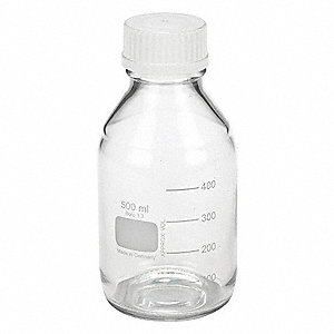 Wide Mouth, Round, Safety Coated Glass, 500mL, 12 PK