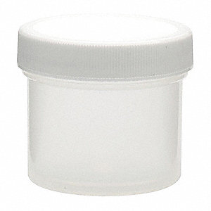 Wide Mouth Round Jar, Plastic, 60mL, White, 48 PK