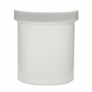 Wide Mouth Round Jar, Plastic, 500mL, White, 24 PK