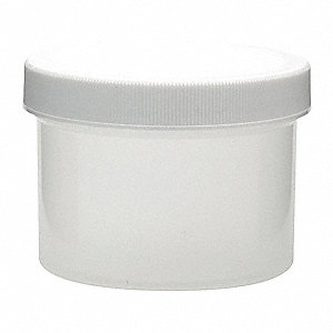 Wide Mouth Round Jar, Plastic, 250mL, White, 36 PK