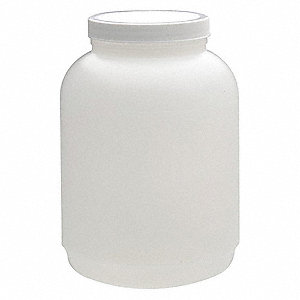 Wide Mouth Round Jar, Plastic, 3840mL, White, 4 PK
