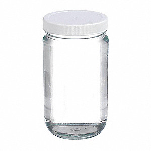 Wide Mouth, Round, Type III Soda Lime Glass, 12 PK