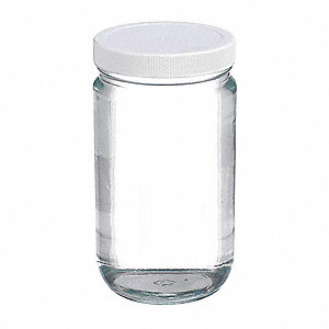 Wide Mouth Round Jar, Glass, Clear, 12 PK