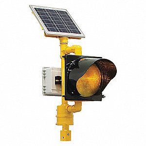 Amber LED Solar Flashing Beacon, Yellow Polycarbonate Housing Material