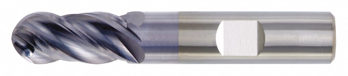 Ball End Mill,  3/4 in,  Carbide,  TiAlN,  Non-Coolant Through