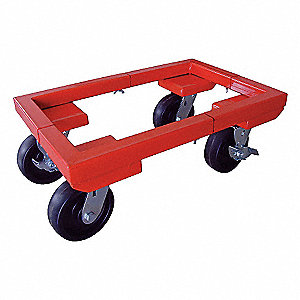 "24-1/2""L x 34""W x 8-7/8""H Red Adjustable Dolly, 3000 lb. Load Capacity"