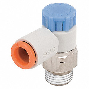 "Elbow Speed Control Valve, 1/8"" Valve Port Size, 1/4"", Electroless Nickel-Plated Brass"