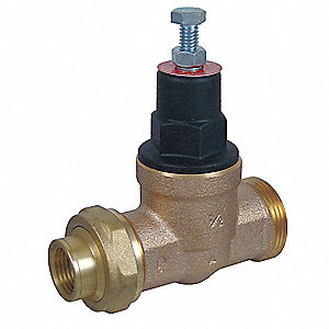 "Water Pressure Reducing Valve, High Capacity Valve Type, Bronze, 1/2"" Pipe Size"