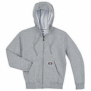Hooded Sweatshirt,Zip Front,Gray,2XL