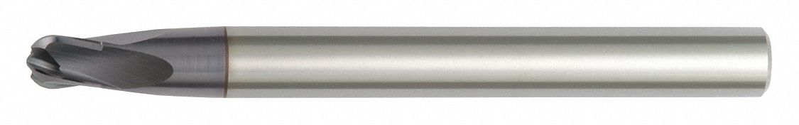 Ball End Mill,  1/2 in,  Carbide,  Non-Coolant Through