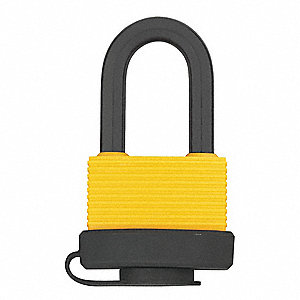 "Different-Keyed Padlock, Open Shackle Type, 1"" Shackle Height, Yellow"