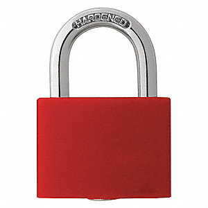 Red Lockout Padlock, Different Key Type, Aluminum Body Material, 1 EA