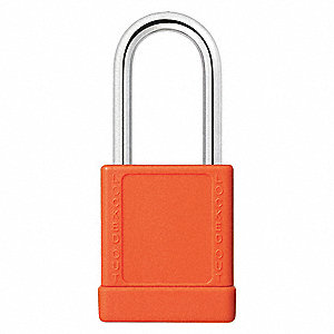 Orange Lockout Padlock, Different Key Type, Aluminum Body Material