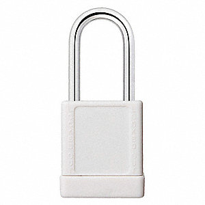 White Lockout Padlock, Different Key Type, Master Keyed: No, Aluminum Body Material