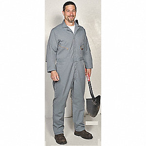 Long Sleeve Coverall, 7.75 oz, Gray, MS