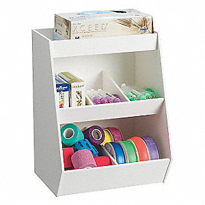 Adjustable Compartment Bench Bin,White