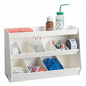Fixed Compartment Bench Bin,White