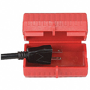 "Plug Lockout, Plastic, 110 Voltage, 1/2"" Max. Cord Dia."