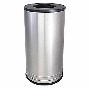 "18 gal. Round Open Top Decorative Trash Can, 28""H, Silver"