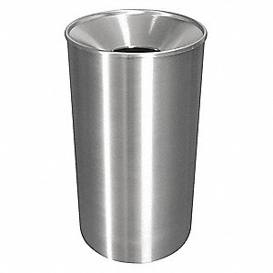 Trash Can,Round,33 gal.,Silver
