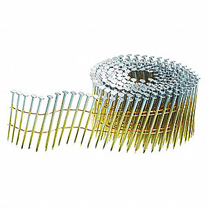 "Siding Nails, 13 ga. Gauge, 2-1/4"" Length, Steel, Electro Galvanized, Coil, Package Quantity 3600"
