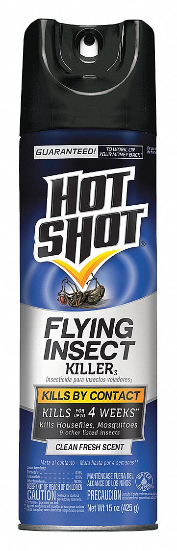 Flying Insect Killer,  Aerosol,  15 oz,  Indoor/Outdoor,  DEET-Free DEET Concentration,  Permethrin