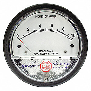 "1/8"" FNPT Differential Pressure Gauge with 4-1/2"" Dial, -5 to 0 to 5 In. H2O, Die Cast Aluminum"