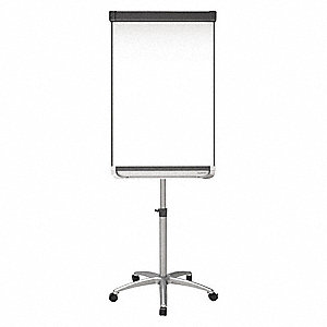 "Gloss-Finish Steel Dry Erase Board, Easel Mounted, Mobile/Casters, 38-1/4""H x 27""W, White"