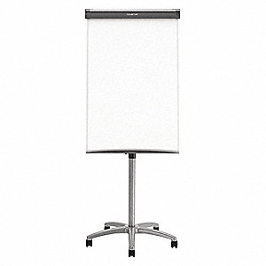 "Gloss-Finish Steel Dry Erase Board, Easel Mounted, Mobile/Casters, 24""H x 36""W, White"