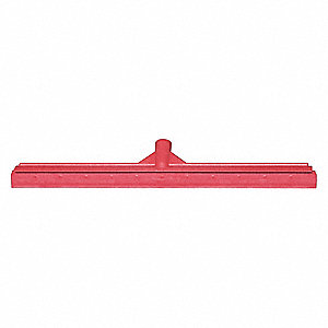 "23-39/64""W Straight Rubber Floor Squeegee Without Handle, Red"