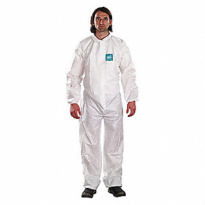 Collared Coveralls with Elastic Cuff, Microporous Film Laminate Material, White, 2XL