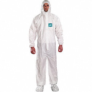 Hooded Coveralls with Elastic Cuff, Microporous Film Laminate Material, White, 5XL