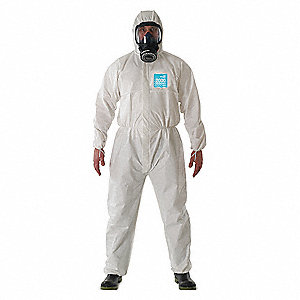 Hooded Coverall,Elastic,White,L,PK25
