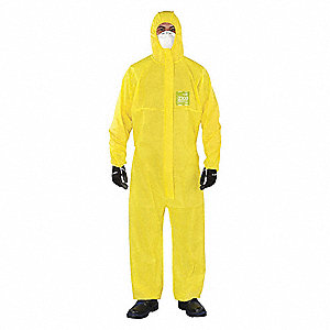 Hooded Coverall,Elastic,Yellow,3XL,PK25
