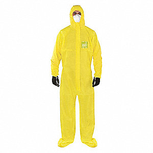 Hooded Coveralls with Elastic Cuff, Chemical Laminate Material, Yellow, 3XL