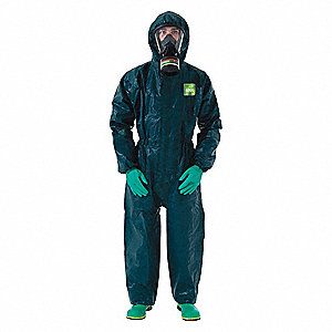 Chemical Resistant Coveralls with Knit Cuff, Chemical Laminate Material, Green, M