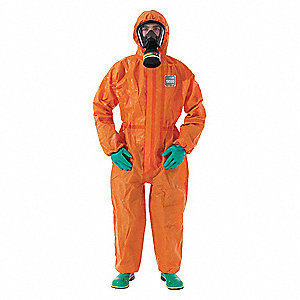 Chemical Resistant Coveralls with Knit Cuff, Chemical Laminate Material, Orange, L