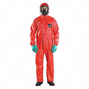 Chemical Resistant Coveralls with Elastic Cuff, Chemical Laminate Material, Red, 3XL
