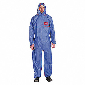 Hooded Coverall,Elastic,Navy,S,PK25