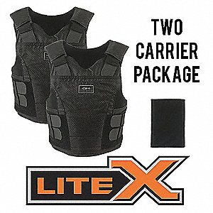 Ballistic Vest Package,XL,Black,Zipper