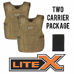 Ballistic Vest Package,2XL,Tan,Zipper
