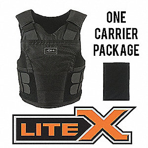 Ballistic Vest Package,S,Black,3.60 lb.